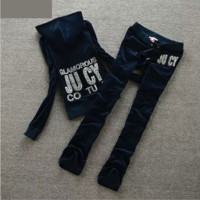 Printing hot drilling velvet cap two woolly sweater casual clothes Velvet sprots suit Navy blue