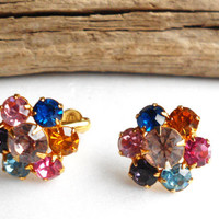 Vintage Eisenberg earrings, multi color rhinestone earrings, jewel tone cluster clipon earring