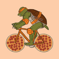 Michelangelo on bike with pizza wheels 5x5 print by linedraw