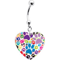 Heart Colorful Animal Paw Prints Belly Ring | Body Candy Body Jewelry