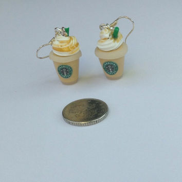 Starbucks inspired earrings. Yummy caramel frappuccino earrings. Handmade, fun gift for her, coffee, cappuccino, costa, miniature food