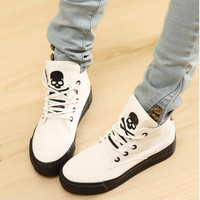 Spring 2016  High-Top Solid Color Punk Style Canvas Shoes For Women  Skull Muffin Bottom Casual Shoes