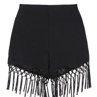 Fringe Black Shorts