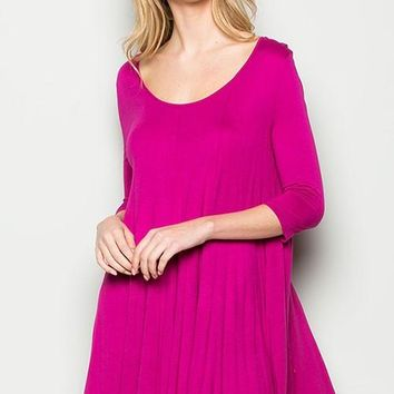 """I Feel Pretty"" Swing Dress in Fuchsia"