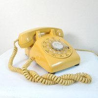 Mid Centuy Rotary Dial Telephone // Bell System Yellow Phone // Vintage Home Office 1960s 1970s