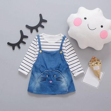Spring Baby Girls Long Sleeve Striped Print T-shirt + Denim Jeans Overalls Dress Kids Two Pieces Dresses Vestidos roupas de bebe