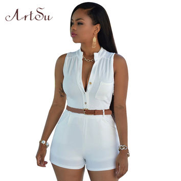 ArtSu 11 colors 2017 summer romper bodycon rompers womens jumpsuit sleeveless shorts S-XXL plus size bodysuit with belt JU5198
