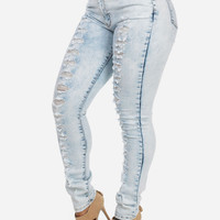 Ripped High Waisted Skinny Jeans (Light Wash)