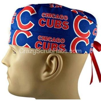 Men's Fold-Up Cuffed or Un-Cuffed Surgical Scrub Hat Cap in Chicago Cubs
