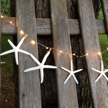 Lighted starfish garland beach decor mantel window display buffet table clear lights bridal shower lighting wedding made to order