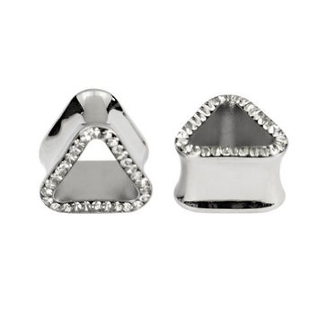 Kadima Body Piercing Jewelry One Pair (2pcs) Stainless Steel Double Flare Triangle Ear Tunnel Plug with Clear Gemstone Epoxy - 18MM