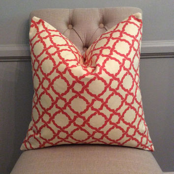 Handmade Decorative Pillow Cover - Waverly - Kent Crossing Coral