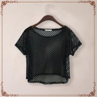Korean Designer Brand Sexy See-through Net Loose T-shirt Woman New 2016 Summer Mesh T Shirt Tops Camisetas Feminino Crop Top