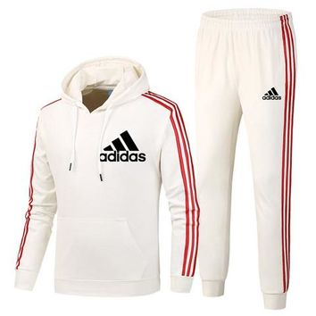 ADIDAS autumn and winter plus velvet sports and leisure running clothes two-piece White