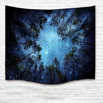 InterestPrint Beautiful Night Sky Wall Art Home Decor, the Milky Way and the Trees Tapestry Wall Hanging Art Sets 60 X 40 Inches