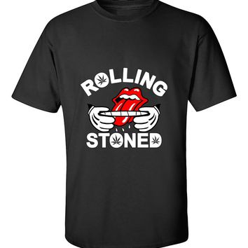 Rolling Stoned 420 Marijuana Joint Smokers Weed Related  T-Shirt
