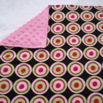 Blanket - Lovey - Changing pad- Cotton designer fabric and Dark pink super soft minky Ready To Ship