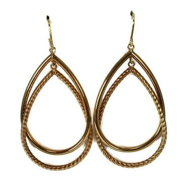 14k Gold Double Teardrop Dangle Earrings Milor Italy
