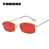 YOOSKE Small Square Sunglasses Women Men Brand Designer Vintage Gold Clear Sun Glasses Unisex Couple Eyewear Small Size Shades