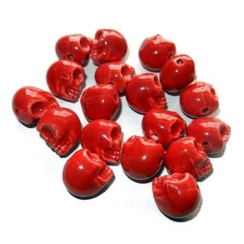Red Porcelain Sugar Skull Beads, 18 Beads