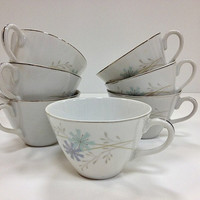 Mid Century Modern Teacups Aqua and Violet by vintage19something