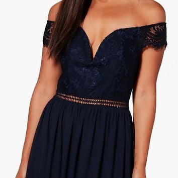 Boutique Rosie Lace Off The Shoulder Maxi Dress | Boohoo