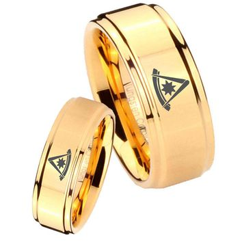 His Her Glossy Step Edges Flat Christian Cross 14K Gold IP Tungsten Wedding Rings Set