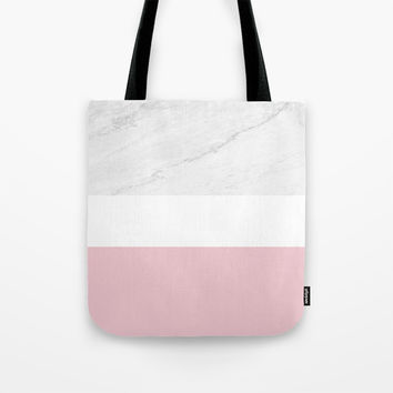 Marble And Dusty Pink Tote Bag by ARTbyJWP