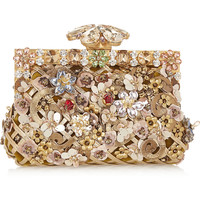 Dolce & Gabbana - Vanda embellished velvet and leather clutch