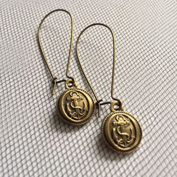 Sailor Button Earrings by SBC Antique Bronze Vintage Style Anchor Buttons Long Kidney Earwires Made to Order