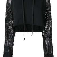Amen Cropped Hoodie With Embroidered Sheer Sleeves - Farfetch