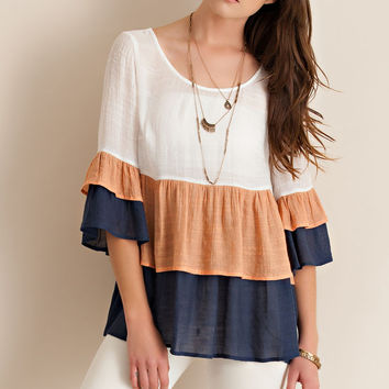 Color Block Ruffled Baby Doll Top
