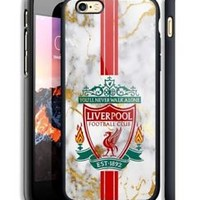 Liverpool Logo Stripe Marble Hard Case For iPhone 6 6+ 6s 6s+ 7 7+ 8 8+ X Cover