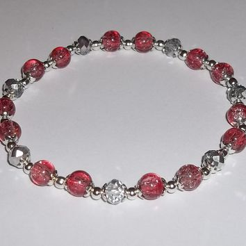 "Strawberry Pink Crackle Glass Bead & Silver Swarovski Crystal 8"" Stretch Bracelet"