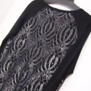 Black and Silver Top Blouse Semi Opage Black and Silver Lace Front Inserts  INC