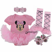 Gowns Baby Rompers Baby Girl's Minnie Mickey Dress Bodysuit Lace 4pcs sets 2017 New Born Autumn Bebe Clothing Infant Clothes