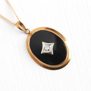 Vintage Onyx Pendant - 10k Yellow Gold Black Gemstone and Diamond Necklace - 1940s Mid Century Signed BDA Fine Classic Jewelry on Gold Chain