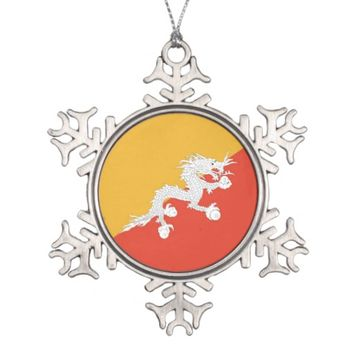 Snowflake Ornament with Bhutan Flag