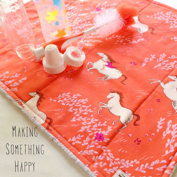 Unique Baby Gift, Baby Bottle Air Drying and Drain Mat, Monogram Included, Use on Kitchen Countertop, Handmade and Quilted, 100% Cotton