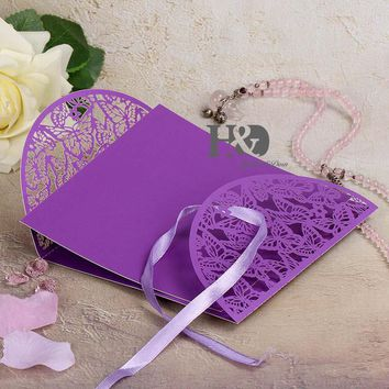 12set /lot 7 Color Laser Cut Butterfly Wedding Invitation Cards Party Bussiness Cards Party Souvenirs Wedding Christmas Decor