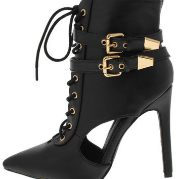 """""""Hell on Heels"""" Lace Up Pointed Toe Heels"""