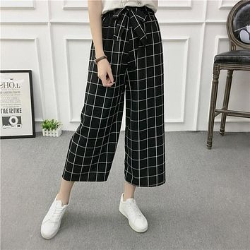 Lattice Striped Wide Leg Pants 2017 Autumn White Self Tie Women Elegant Palazzo Pants Leisure High Waist Cropped Pants