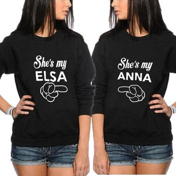 She's my Anna and She's my Elsa sweatshirt best sister friends crewneck hoodies women pullover funny casual female tracksuit