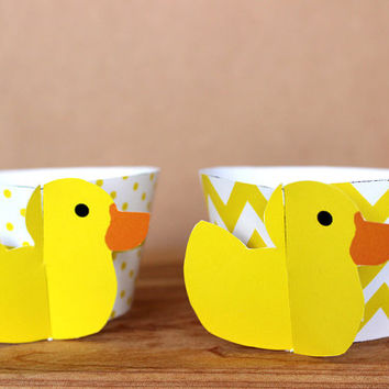 Yellow Rubber Duck 3D Cupcake Wrappers - DIY printable party supplies – duckie wraps for baby showers or birthdays - INSTANT DOWNLOAD