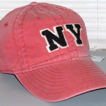 POLO RALPH LAUREN Men's New York Hat Sport Ball Cap, Vintage Wash Coral Red, NWT