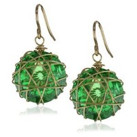 Devon Leigh Emerald Lucky Star Cubic Zirconia 14k Gold-Fill Earrings , 1""