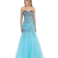 Blue Strapless Sweetheart Sequin Mermaid Dress 2015 Prom Dresses