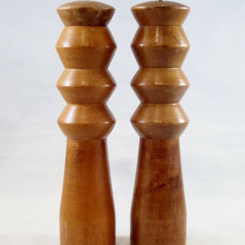 Vintage Pepper Mill Grinder Salt Shaker Wood 1960s