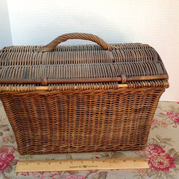 Old French Market Basket Hand Woven 1800's Willow Basket With Lid