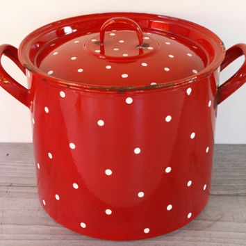 Enamel Bread /Flour Bin..Red & White Spots...Kitchen Storage.
